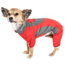 Pet Life ACTIVE Warm-Pup Performance Jumpsuit - Red and Gray