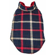 Pet Life Allegiance Classical Plaid Insulated Dog Coat - Blue