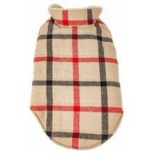 Pet Life Allegiance Classical Plaid Insulated Dog Coat - Khaki