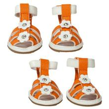 Pet Life Buckle-Supportive Pvc Waterproof Dog Sandals Shoes - Set Of 4 - Orange Floral