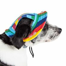 Pet Life Colorfur UV Protectant Canopy Brimmed Dog Hat Cap - Rainbow