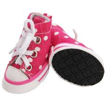 Pet Life Extreme-Skater Canvas Dog Sneakers - Pink Polka Dot