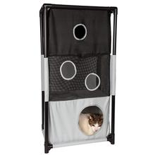 Pet Life Kitty-Square Collapsible Cat Playhouse Lounger - Black and White