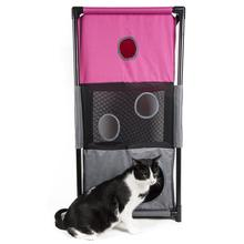 Pet Life Kitty-Square Collapsible Cat Playhouse Lounger - Pink and Gray