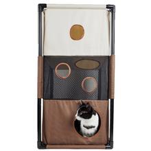 Pet Life Kitty-Square Collapsible Cat Playhouse Lounger - Khaki and Brown