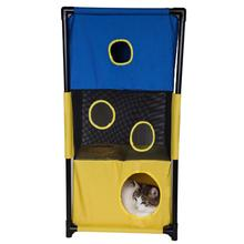 Pet Life Kitty-Square Collapsible Cat Playhouse Lounger - Blue and Yellow