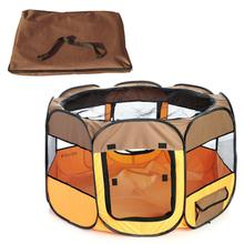 Pet Life Lightweight Collapsible Travel Dog Playpen - Brown and Orange
