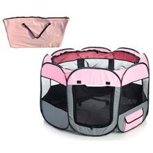 Pet Life Lightweight Collapsible Travel Dog Playpen - Pink and Gray