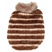 Pet Life Luxe Tira-Poochoo Tiramisu Mink Fur Dog Coat - White and Brown
