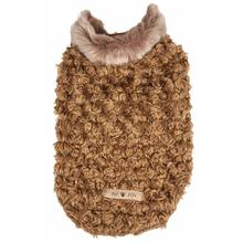 Pet Life Luxe Furpaw Shaggy Coffee Brown and White Dog Coat