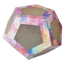 Pet Life 'Octagon Puzzle' Designer Kitty Cat Scratcher Lounge and House with Catnip