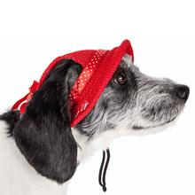 Pet Life Sea Spot Sun UV Protectant Mesh Brimmed Dog Hat Cap - Red