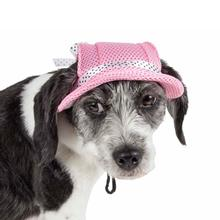 Pet Life Sea Spot Sun UV Protectant Mesh Brimmed Dog Hat Cap - Pink
