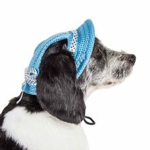 Pet Life 'Sea Spot Sun' UV Protectant Mesh Brimmed Dog Hat Cap - Blue