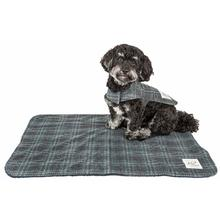 Pet Life Touchdog 2-in-1 Windowpane Plaid Dog Jacket with Matching Reversible Dog Mat - Gray and Light Blue