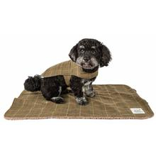 Pet Life Touchdog 2-in-1 Windowpane Plaid Dog Jacket with Matching Reversible Dog Mat - Olive Green