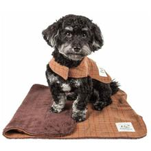 Pet Life Touchdog 2-in-1 Windowpane Plaid Dog Jacket with Matching Reversible Dog Mat - Brown