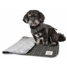 Pet Life Touchdog 2-in-1 Windowpane Plaid Dog Jacket with Matching Reversible Dog Mat - Dark Gray