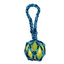 Pet Park Blvd Paracord Rope Tug with TPR Squeaky Ball Dog Toy - Blue