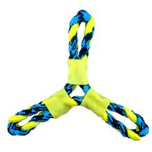 Pet Park Blvd Paracord Rope Twisted Tri-Flyer Dog Toy - Yellow