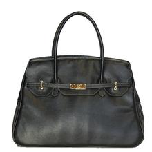 Petote Katie Genuine Leather Dog Carrier Handbag - Black