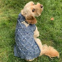 Willow's Diamond Cable Dog Sweater by Petrageous - Blue Marled