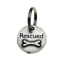 Pewter Dog Collar Charm or Cat Collar Charm: Rescued Bone