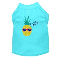 Pineapple Chillin' Embroidered Dog Shirt - Aqua