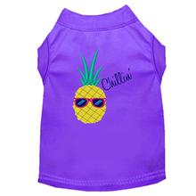 Pineapple Chillin Embroidered Dog Shirt - Purple