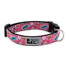 Pink Comic Sounds Adjustable Clip Dog Collar By RC Pets
