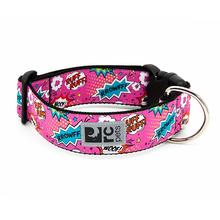 Pink Comic Sounds Wide Clip Adjustable Dog Collar By RC Pets