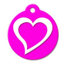 Pink Heart QR Code Pet ID Tag by BarkCode