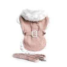 Pink Houndstooth Fur-Trimmed Dog Harness Coat by Doggie Design