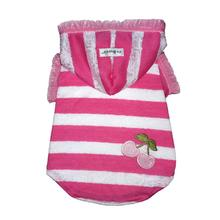 Pink Stripe Cherry Dog Hoodie Top by Hip Doggie