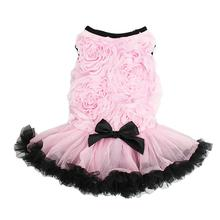 Rose Dog Dress by Pawpatu - Pink with Black Trim