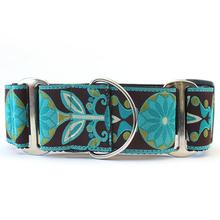 Boho Peacock Wide Martingale Dog Collar by Diva Dog