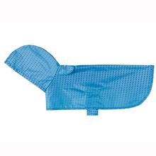Pitter Patter Packable Dog Rain Poncho - Cyan Halftone