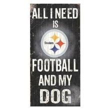 Pittsburgh Steelers Football and My Dog Wood Sign