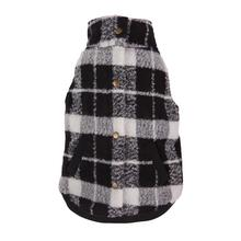 Plaid Boucle Dog Jacket - Black and White