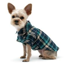 Plaid Button Down Dog Shirt by Dogo - Blue