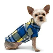 Plaid Button Down Dog Shirt by Dogo - Blue and Yellow