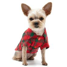 Plaid Button Down Dog Shirt by Dogo - Red and Green