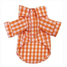 Plaid Button Down Dog Shirt by Fab Dog - Orange