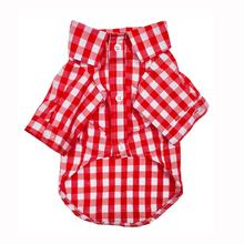 Plaid Button Down Dog Shirt by Fab Dog - Red