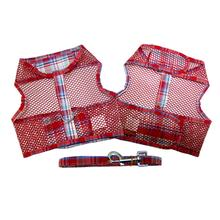 Plaid Cool Mesh Dog Harness by Doggie Design- Red