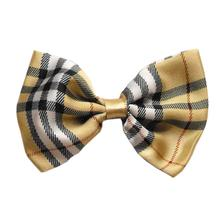 Plaid Dog Bow Tie - Cream