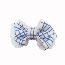 Plaid Dog Bow with Alligator Clip - French Blue