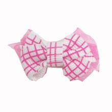 Plaid Dog Bow with Alligator Clip - Hot Pink