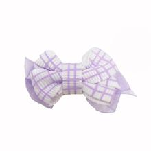 Plaid Dog Bow with Alligator Clip - Light Orchid