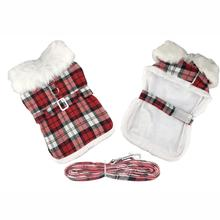Plaid Fur-Trimmed Dog Harness Coat by Doggie Design - Red and White